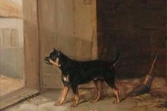 1876-A-Bull-Terrier-hearing-a-visitor-Edmund-Bristow