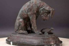 1896-Bronze-figure-of-a-pitdog-and-a-turtle.-Alfred-Jacquemart.