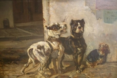 EARLY-BULL-AND-TERRIER-OIL-PAINTING-BY-EDOUARD-JOSEPH-STEVENS-BELGIAN-ARTIST-1819-1892